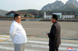 FILE - North Korean leader Kim Jong Un inspects the Mount Kumgang tourist resort, North Korea, in this undated picture released by North Korea's Central News Agency (KCNA) Oct. 23, 2019.