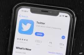 In this Monday, July 30, 2019 photo, the social media application, Twitter is displayed on Apple's App Store. (AP Photo/Amr…