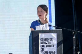 Climate change activist Greta Thunberg speaks after a climate change march in Los Angeles on Friday, Nov. 1, 2019.