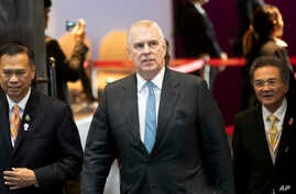 Britain's Prince Andrew, the Duke of York, arrives at ASEAN Business and Investment Summit (ABIS) in Nonthaburi, Thailand,…