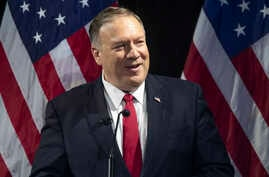 Secretary of State Mike Pompeo speaks during the Herman Kahn Award Gala, Wednesday, Oct. 30, 2019, in New York. Pompeo received…