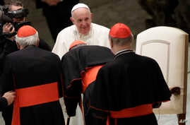 Pope Francis greets cardinals in the Paul VI Hall at the Vatican after an audience with students and teachers of the LUMSA Catholic University, Nov. 14, 2019.