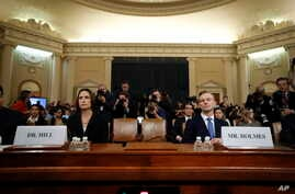 Former White House national security aide Fiona Hill, and David Holmes, a U.S. diplomat in Ukraine, arrive to testify before the