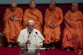 Pope Francis delivers a speech during a meeting of religious leaders at the Chulalongkorn University, Friday, Nov. 22, 2019, in…