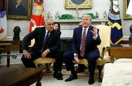 President Donald Trump speaks with members of the press as he meets with Bulgarian Prime Minister Boyko Borissov in the Oval…