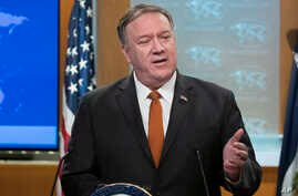 Secretary of State Mike Pompeo speaks with reporters at the State Department, Tuesday, Nov. 26, 2019 in Washington. (AP Photo…