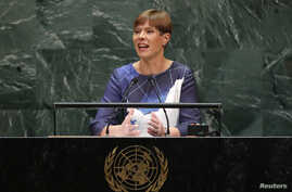 Estonia's President Kersti Kaljulaid addresses the 74th session of the United Nations General Assembly at U.N. headquarters in…
