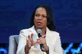 Condoleezza Rice, former United States secretary of state, speaks during the opening ceremony of the Abu Dhabi International Petroleum Exhibition and Conference (ADIPEC) in Abu Dhabi, Nov. 11, 2019.