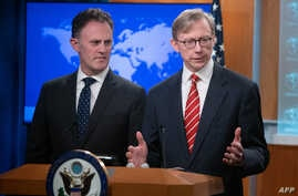 Brian Hook (R), US SpaBrian Hook (R), U.S. Special Representative for Iran, and Ambassador Nathan Sales (L), State Department Coordinator for Counterterrorism, speak during a press conference at the State Department in Washington, DC, April 8, 2019. ecial Representative for Iran, and Ambassador Nathan Sales (L), State Department Coordinator for…