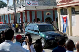A vehicle carrying Cuba's President Miguel Diaz-Canel arrives in Caimanera, Cuba, Nov. 14, 2019.