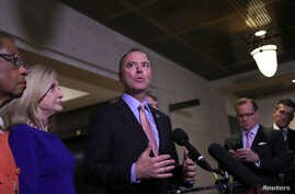 U.S. House Intelligence Committee Chairman Adam Schiff speaks to reporters on Capitol Hill, in Washington, Nov. 6, 2019.
