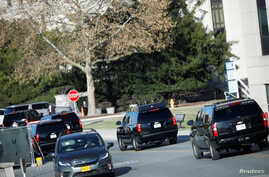 U.S. President Donald Trump's motorcade arrives at Walter Reed National Military Medical Center in Bethesda, Maryland, Nov. 16, 2019.
