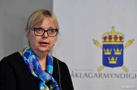 Deputy Director of Public Prosecution Eva-Marie Persson speaks during a news conference in Stockholm, Sweden, Nov. 19, 2019.
