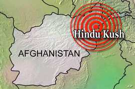 Afghanistan map with Hindu Kush locator and earthquake symbol