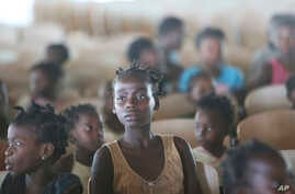 A young girl at a temporary shelter for children in Pemba city, on the northeastern coast of Mozambique, Thursday May 2, 2019…