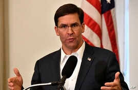 US Defense Secretary Mark Esper speaks to a gathering of soldiers at the University Club at the University of Louisville