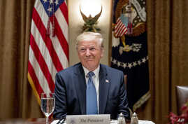President Donald Trump smiles during a luncheon with members of the United Nations Security Council in the Cabinet Room.