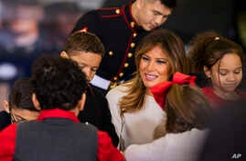 First lady Melania Trump joins children at the U.S. Marine Corps Reserve's Toys for Tots Drive at Joint Base Anacostia-Bolling…