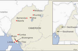 Map of Cameroon showing the towns of Bamenda, Kumbo, Ndop, Nkambe, Limbe, Buea, Kumba, Mamfe, Mutengene and Tiko