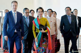 Myanmar's State Counsellor Aung San Suu Kyi departs from Naypyidaw International Airport, Dec. 8, 2019.