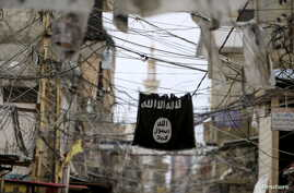 An Islamic State flag hangs amid electric wires over a street in Ain al-Hilweh Palestinian refugee camp, near the port city of S
