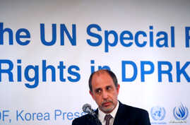 Special Rapporteur on the situation of human rights in North Korea Tomas Ojea Quintana listens to a reporter's question during…