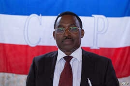 FILE - Anicet Niyonkuru, executive secretary for the National Council for Compliance with the Arusha Agreement (CNARED), attends a meeting on the 2020 presidential election, in Bujumbra, Burundi, on Oct. 11, 2019.