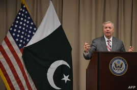 FILE - U.S. Senator Lindsey Graham holds a press conference at the U.S. embassy in Islamabad, Pakistan, Jan. 20, 2019.