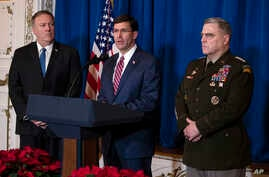 Secretary of State Mike Pompeo (L) and Chairman of the Joint Chiefs of Staff Gen. Mark Milley (R) listen as Secretary of Defense Mark Esper delivers a statement, at President Donald Trump's Mar-a-Lago estate, in Palm Beach, Florida, Dec. 29, 2019.
