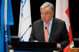 FILE - U.N. Secretary-General Antonio Guterres speaks at the European headquarters of the United Nations in Geneva, Switzerland, Dec. 17, 2019.