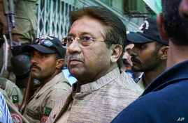 FILE - Pakistan's former President and military ruler Pervez Musharraf arrives at an anti-terrorism court in Islamabad, Pakistan, April 20, 2013.