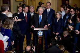 Senate Majority Leader Mitch McConnell, R-Ky., speaks to reporters during a news conference, Dec. 10, 2019, on Capitol Hill in Washington.