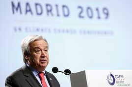 U.N. Secretary-General Antonio Guterres delivers his opening speech at the start of the U.N. climate change conference (COP25) in Madrid, Spain, Dec. 2, 2019.