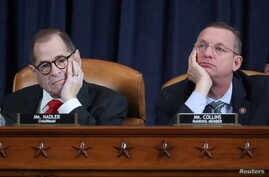 House Judiciary Committee Chairman Rep. Jerrold Nadler (D-NY) and ranking member Doug Collins (R-GA) listen to testimony during a hearing as part of the impeachment inquiry into U.S. President Donald Trump on Capitol Hill in Washington.