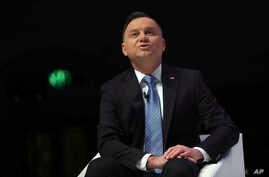 Poland's President Andrzej Duda speaks during an event 'NATO Engages' at Central Hall Westminster in London, Tuesday, Dec. 3,…