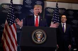 US President Donald Trump speaks during a news conference at the World Economic Forum in Davos, Switzerland, Jan. 22.