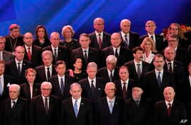 World leaders pose for a family photo during the World Holocaust Forum in Jerusalem, Jan. 23, 2020.