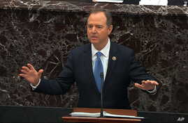 House impeachment manager Rep. Adam Schiff, D-Calif., speaks during the impeachment trial against President Trump