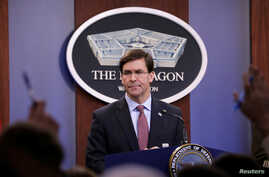 U.S. Defense Secretary Mark Esper speaks during a press briefing at Pentagon in Arlington, Virginia, U.S., December 20, 2019…