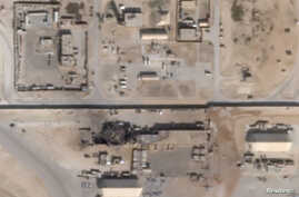 What appears to be new damage at Al Asad air base in Iraq is seen in a satellite picture taken January 8, 2020. Planet/Handout…