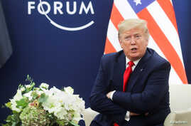 President Donald Trump talks during a bilateral meeting with Iraqi President Barham Salih (not pictured) in Davos.