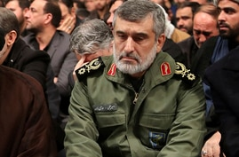 Gen. Amir Ali Hajizadeh, the head of the Guard's aerospace division, attends a mourning ceremony for Gen. Qassem Soleimani a day after a Ukrainian plane crash, in Tehran, Iran, Jan. 9, 2020. Photo released by Iran's supreme leader.