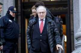 FILE - Attorney Alan Dershowitz leaves Manhattan Federal Court in New York, March 6, 2019. Dershowitz is among the lawyers representing President Donald Trump in his impeachment trial.