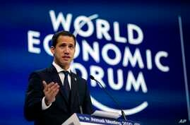 The leader of Venezuela's political opposition Juan Guaido addresses the World Economic Forum in Davos, Switzerland, Jan. 23, 2020.