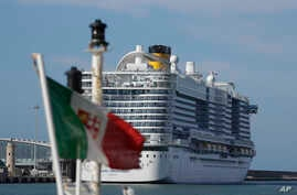 The Costa Smeralda cruise ship is docked in the Civitavecchia port near Rome, Jan. 30, 2020.