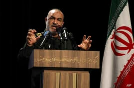 FILE - Chief of Iran's Revolutionary Guard Gen. Hossein Salami speaks at a ceremony in Tehran, Iran, Sept. 21, 2019.