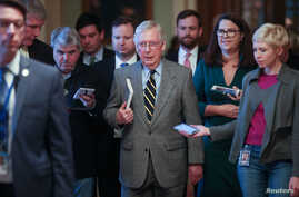 Senate Majority Leader Mitch McConnell (R-KY) speaks to reporters in the U.S. Capitol in Washington, Jan. 3, 2020.
