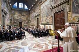 Pope Francis speaks to diplomats accredited to the Holy See for the traditional exchange of the New Year greetings at the Vatican, Jan. 9, 2020.