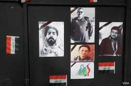 A wall in a Mosul, Iraq, cultural center features pictures of protesters who died in clashes on Jan. 29, 2020. (H.Murdock/VOA)