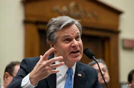 FBI Director Christopher Wray testifies during an oversight hearing of the House Judiciary Committee, on Capitol Hill,…